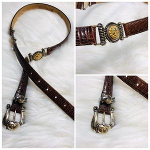 Rare Brighton Museum Sun God Brown Leather Belt